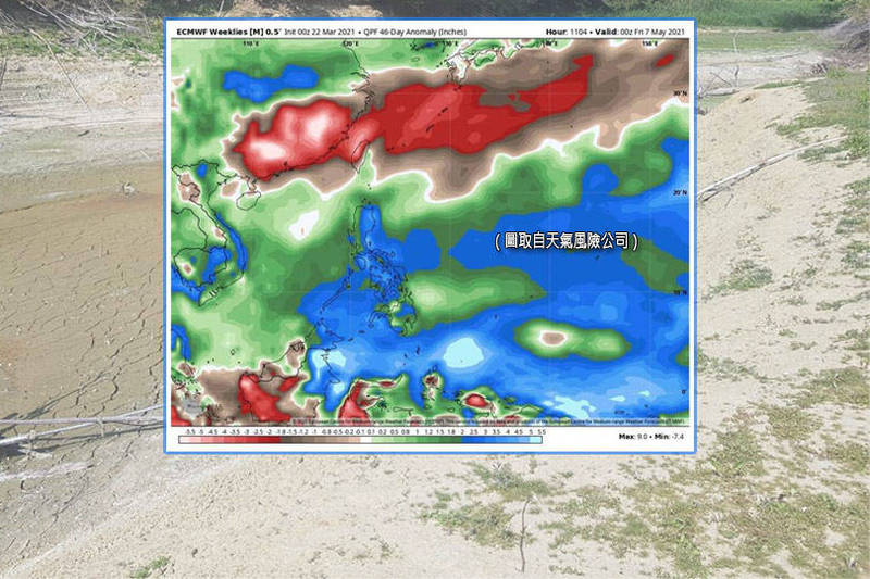天氣風險公司表示,未來45天台灣降雨並不樂觀。(圖取自天氣風險公司、本報資料照;本報合成)
