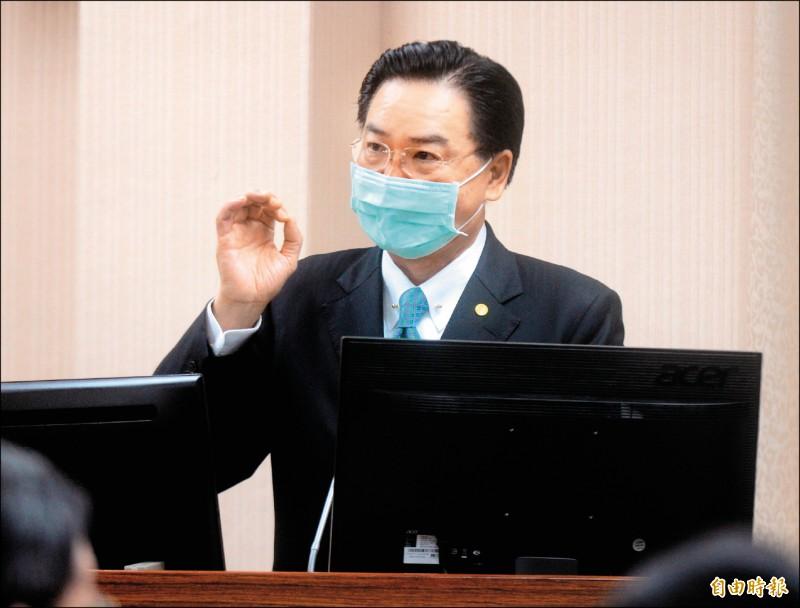 外交部長吳釗燮昨在立院外交及國防委員會答詢時表示,美台TIFA相關會議今年一定會舉行,「復談很有機會」。(記者王藝菘攝)