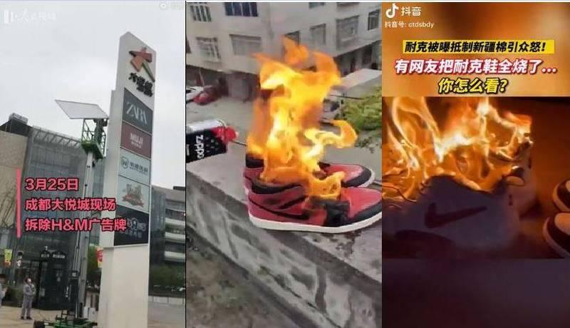 今(25日)微博上流傳四川成都「大悅城」商場的H&M戶外廣告牌遭拆除的影片,還有不少中國小粉紅大燒Nike球鞋洩憤的影片。(圖擷取自微博)