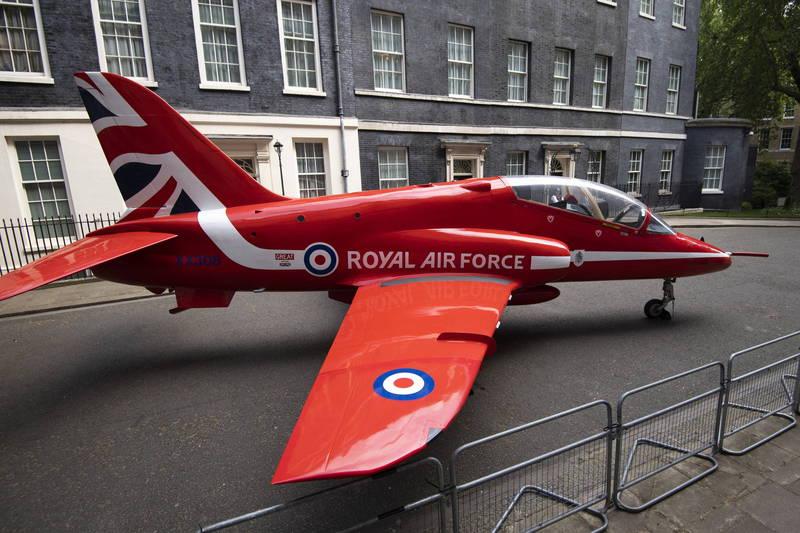 一架隸屬英國皇家海軍的鷹式教練機今日不幸墜毀。圖為英國皇家空軍的鷹式教練機。(歐新社資料照)