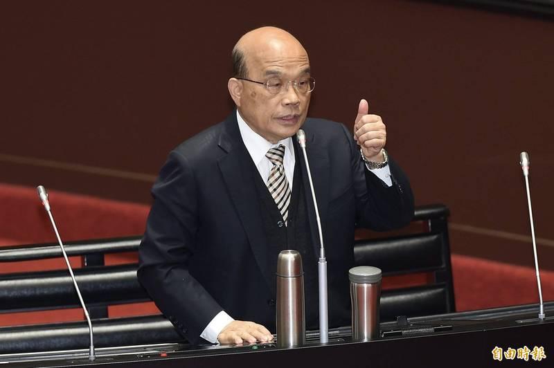行政院長蘇貞昌表示,政院職災保險單獨立法是送給全體勞工最大禮物。(資料照)