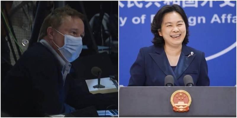 中國外交部發言人華春瑩(右)今狂笑BBC記者(左)「對號入座」,還主動表明要請該名記者「喝茶」。(圖取自微博)
