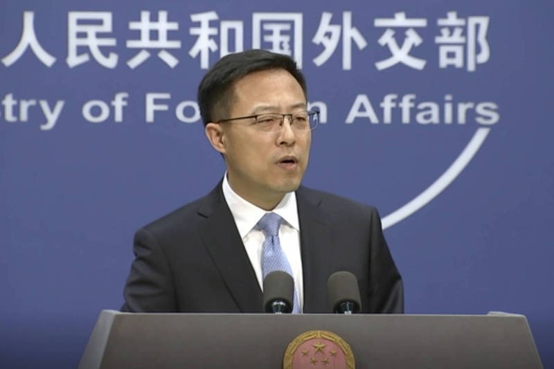 中國外交部發言人趙立堅(見圖)今(29)日不滿回應,「美國一些人企圖將中國政府與民意割裂對立,其心何其毒也!」(美聯社資料照)