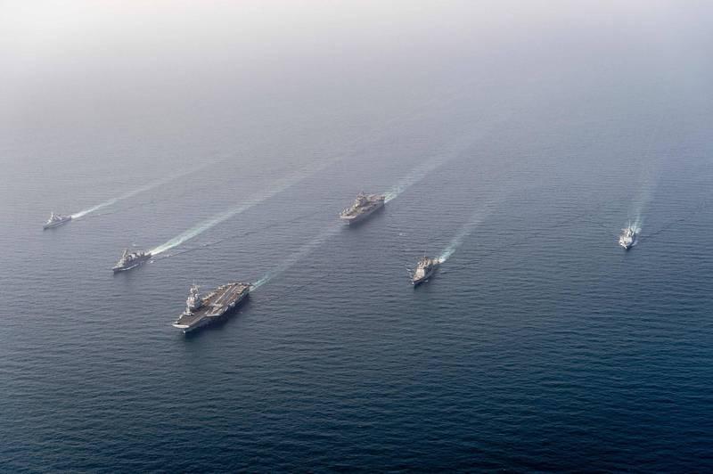 美國五角大廈前副助理部長奧赫曼內克近日對外媒指出,美國五角大廈數次兵推「中國犯台」,「紅隊」經常獲勝。美軍艦隊示意圖。(法新社檔案照)
