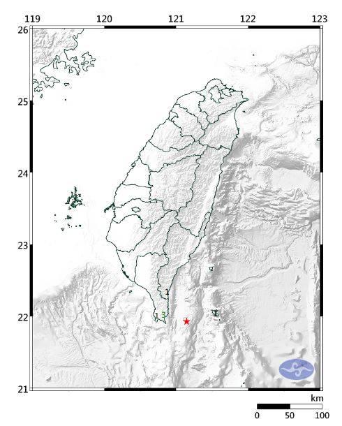 今晚10時16分左右,台東縣政府以南91公里的台灣東南部海域發生芮氏規模3.8的小區域有感地震。(圖擷取自中央氣象局)