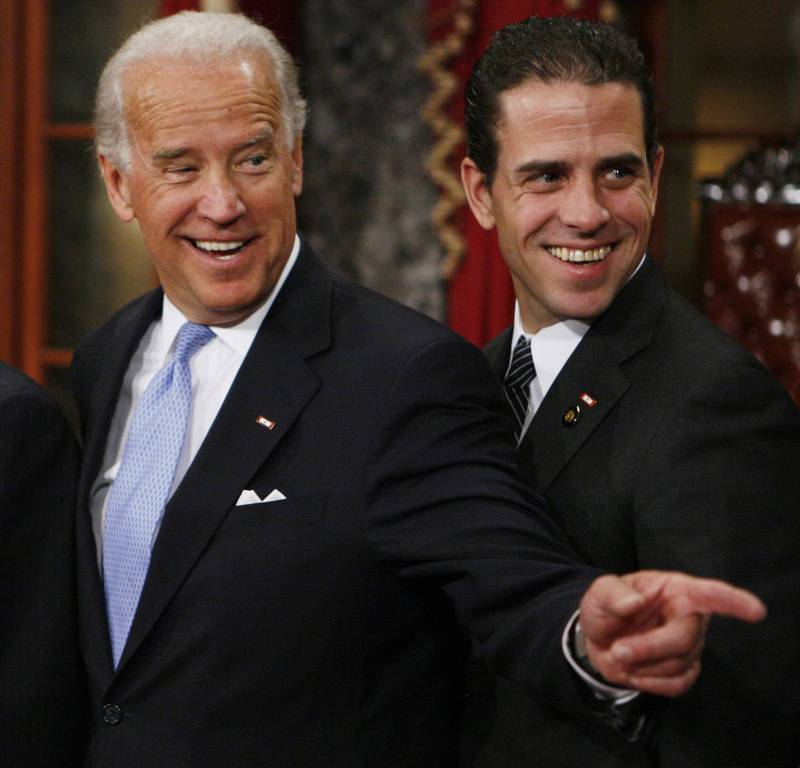 美國總統拜登的次子杭特(右),自爆自己和大嫂海莉有染。(美聯社)