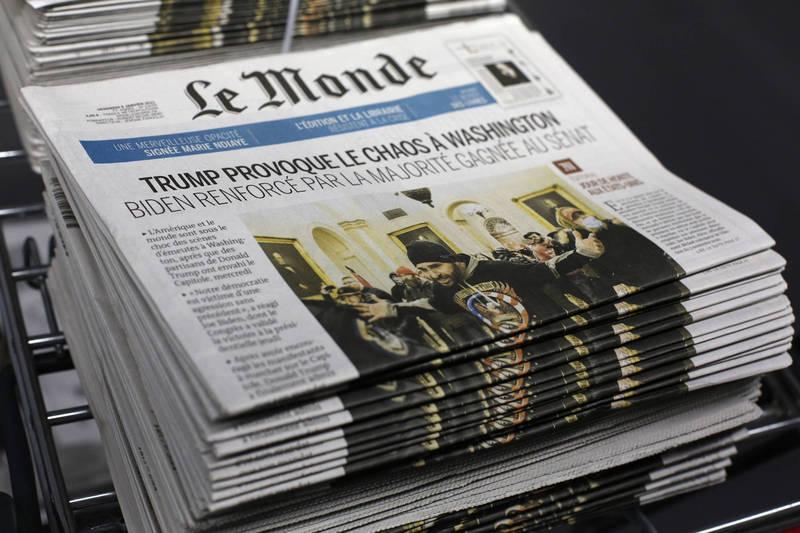 中國官媒刊出的1名法國記者評論文章,被法國《世界報》發現並沒有這名記者。《世界報》示意圖。(美聯社檔案照)