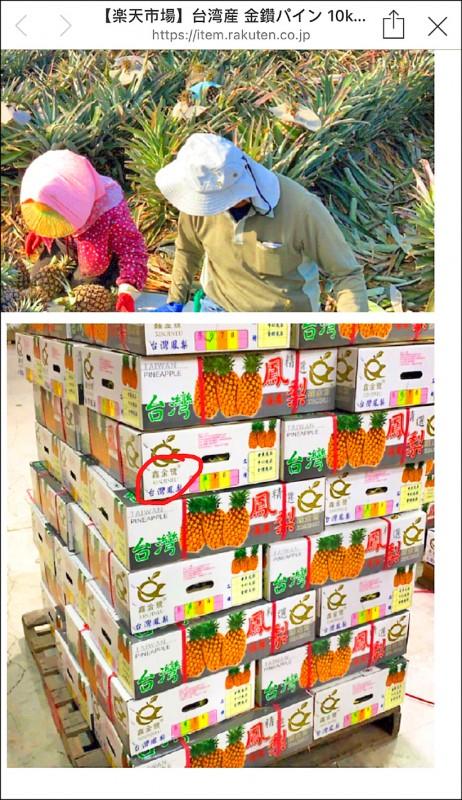 農委會要求相關業者不可拿過去銷中的紙箱拿來包裝輸日鳳梨,以免造成誤解。(翻攝自日本電商平台網站)