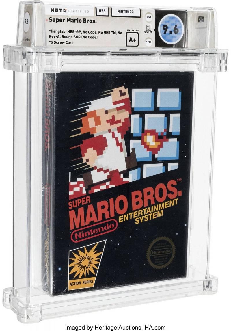 《超級瑪利歐兄弟》1986年未拆封卡匣,拍賣成交價格竟高達66萬美元(約新台幣1884萬元)。(美聯社)