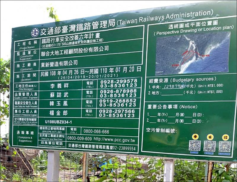 義祥工業社負責的鐵路行車安全改善工程,因完工日期展延有塗改痕跡。 (記者王錦義翻攝)