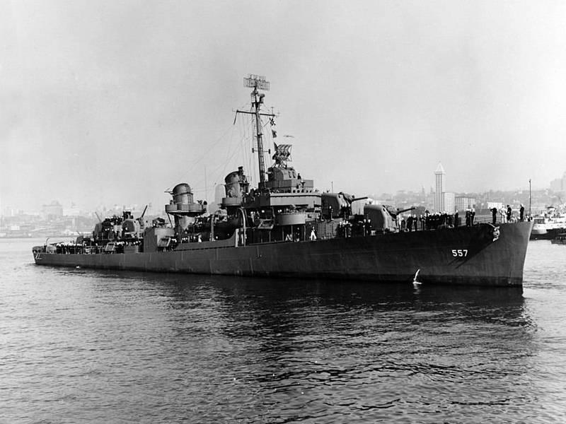 近日海底探險團隊確認在6456公尺深的海底發現美軍二戰驅逐艦「約翰斯頓號」船骸,為至今發現最深的沉船。(圖擷自Wiki)