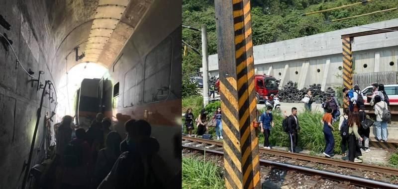 一名從發生脫軌意外的太魯閣號上脫困的女乘客說,當車廂門好不容易打開後,大家沒有爭先恐後,而是互相扶持身邊的人離開車廂。(當事人授權提供)