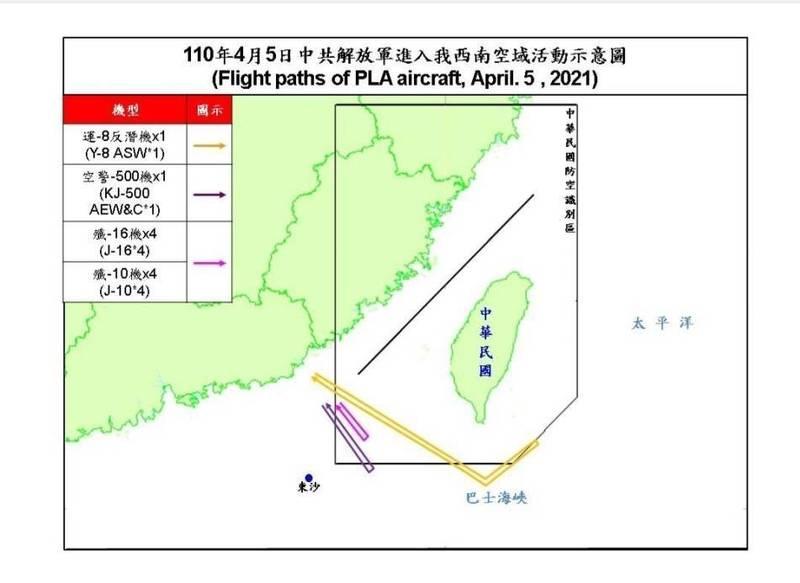 中國10架次軍機擾我西南空域。(國防部提供)