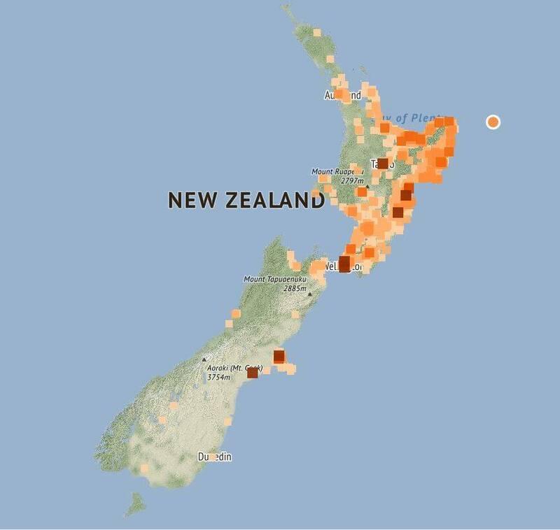 紐西蘭地震監測機構GeoNet表示,當地時間5日晚間7時37分發生規模6.1地震,震央位在北島外海。(圖擷取自GeoNet網站)