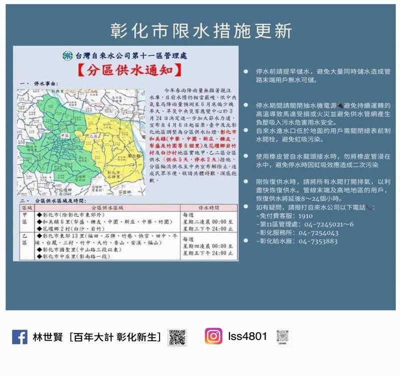 彰化市長林世賢在臉書張貼北彰化45處臨時供水站詳細地點,呼籲民眾家裡缺水時可以前往免費取用。 (翻攝林世賢臉書)