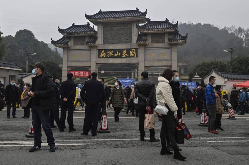 圖為中國湖北武漢的扁擔山墓園。(法新社資料照)
