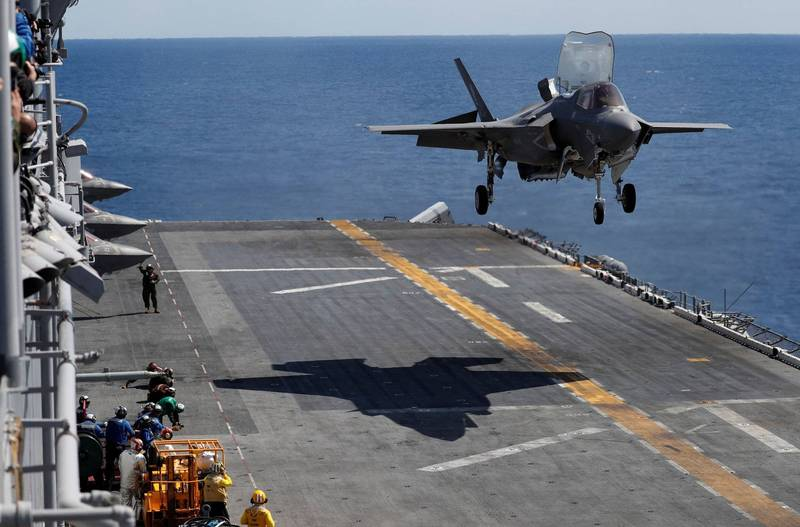 The Japanese government intends to deploy F-35B fighters at the Shintahara base in Miyazaki Prefecture. The picture shows the US Army F-35B.  (Reuters)