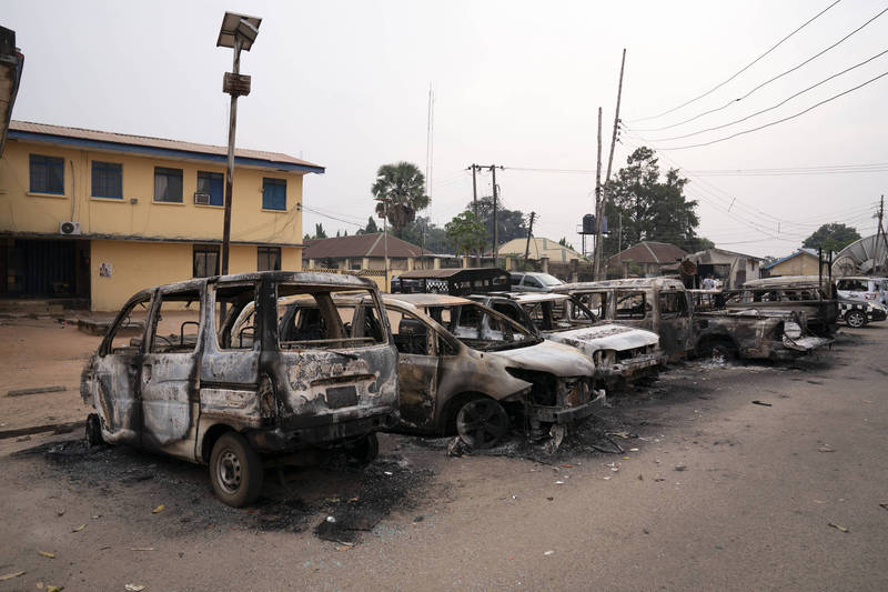 In southeastern Nigeria, an armed group dispatched heavy equipment to attack the prison on Monday local time, and more than 1,800 prisoners fled.  (Associated Press)