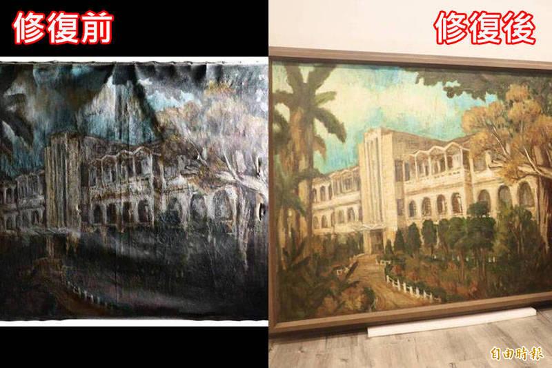 整建地下室發現1962年10月油畫,經正修科技大學文物修護中心團隊修復25天還原。(校方提供,記者黃旭磊攝,本報合成)
