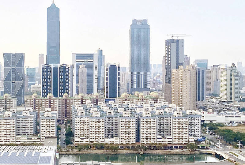 Commercial and residential buildings are pictured in Kaohsiung yesterday. Photo: CNA