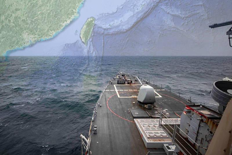 美國第七艦隊表示,伯克級神盾驅逐艦「馬侃號」(DDG-56)7日通過台灣海峽。(圖取自美國第七艦隊、Google Map;本報合成)