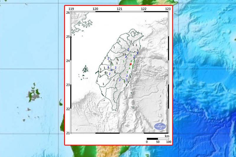中央氣象局表示,花蓮縣今天(7日)晚上9點19分發生芮氏規模4.9的地震,花蓮地區最大震度為4級。(圖取自中央氣象局;本報合成)
