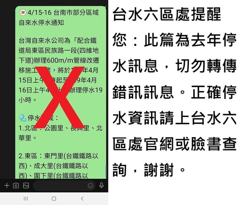 自來水公司第六區管理處請民眾勿再轉傳去年(2020)四月間台南部分地區的停水訊息。(水公司六區處提供)