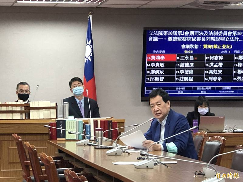 國民黨立委費鴻泰質疑監院對翁啟惠案「一案三查」,痛斥不要亂搞。(記者陳昀攝)