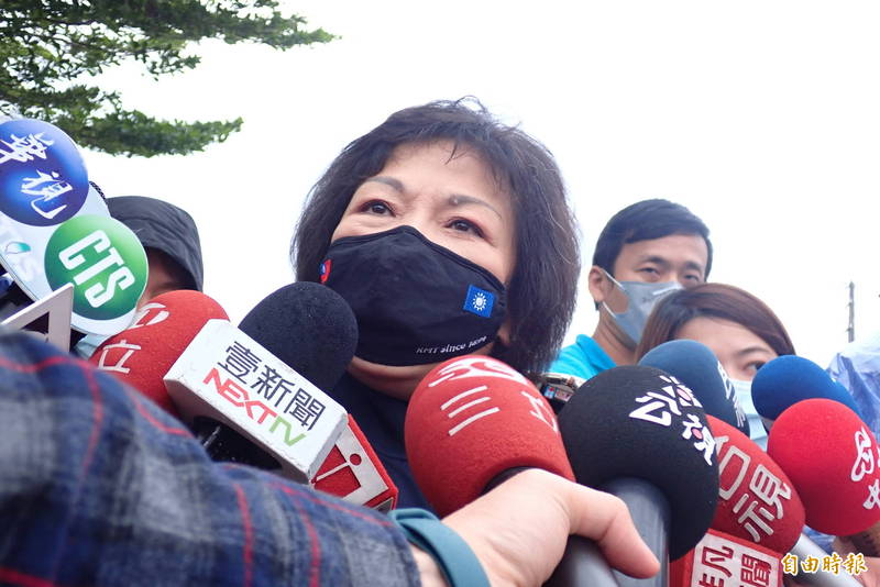 葉毓蘭今天和國民黨主席江啟臣到花蓮參加太魯閣號出軌罹難者的頭七法會,對太魯閣號第八節放二二八公園的提議遭出征,她做出解釋。(記者花孟璟攝)
