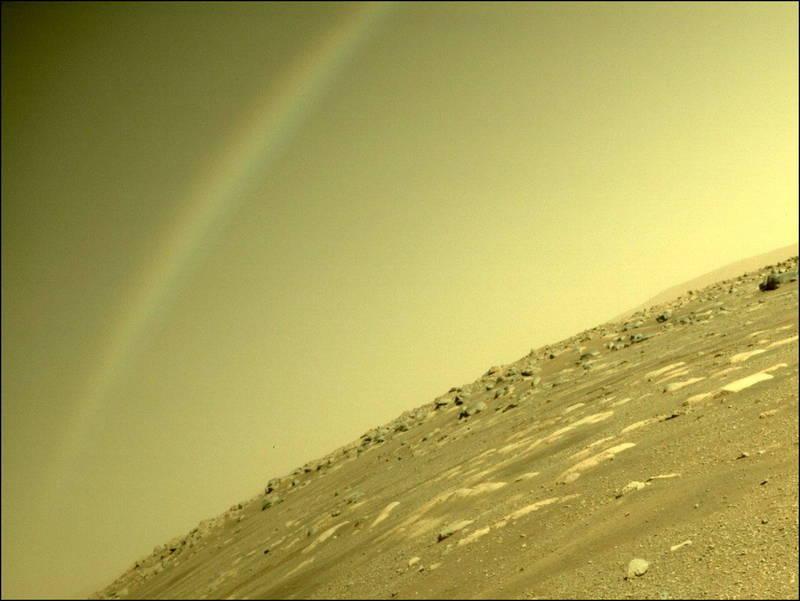 「毅力號」傳回1張照片赫見火星天際出現「彩虹」,立刻引發討論,不過NASA出面表示,火星不可能有彩虹,這是鏡頭眩光。(歐新社)