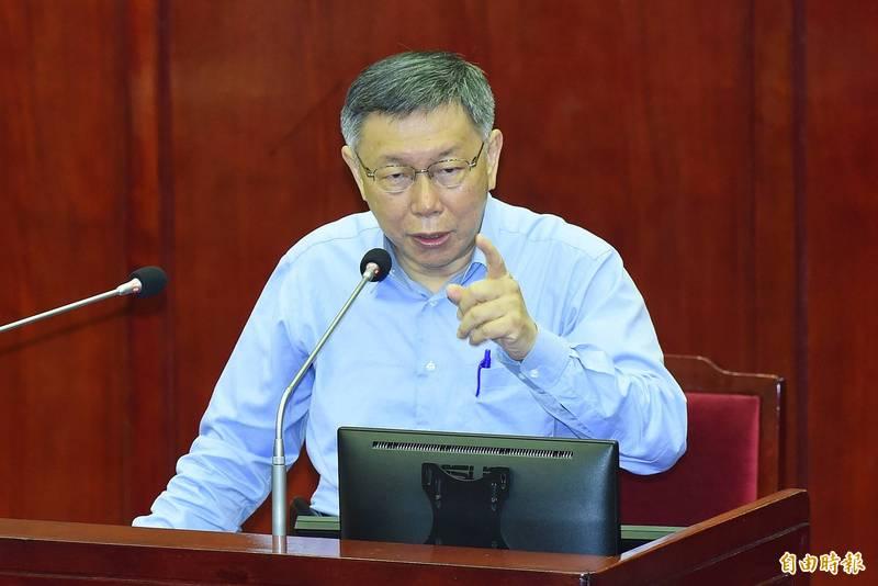 台北市長柯文哲8日前往市議會進行施政報告及備詢。(記者廖振輝攝)