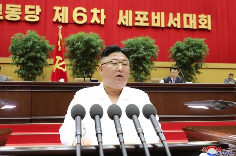 金正恩要求官員及黨員落實5年經濟計劃。(法新社)