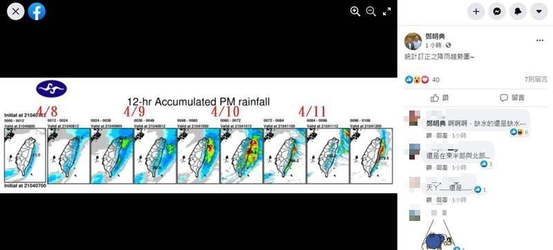 鄭明典也PO出降雨趨勢圖,顯示8日至11日間降雨仍多集中在東半部與北部,預估對西部旱象仍無幫助。(圖擷自鄭明典臉書)