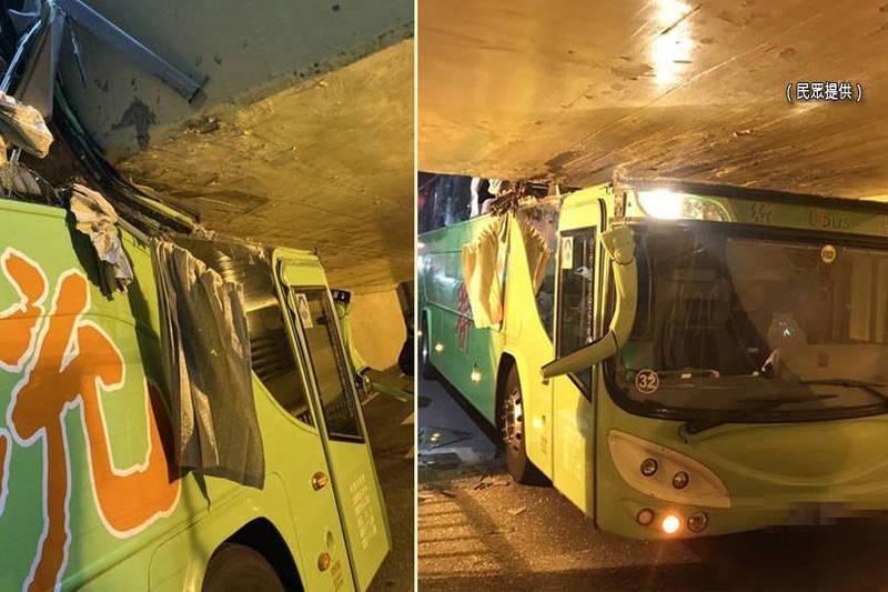 一輛統聯客運誤闖台南小東地下道機慢車道,撞擊卡住台鐵軌道下方橋墩,車頭被削掉一半。(民眾提供;本報合成)