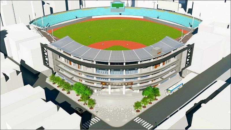 新竹市立棒球場重建的完工示意圖。(新竹市府提供)