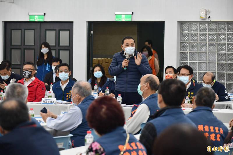 新北市長侯友宜今天前往新莊區進行行動治理座談。(記者周湘芸攝)