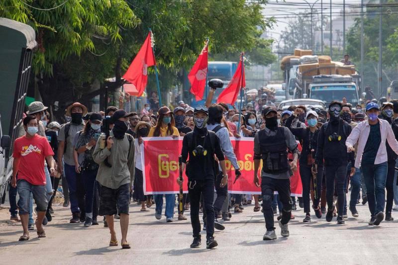 緬甸示威群眾。(法新社檔案照)