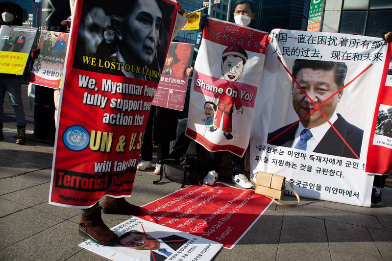 中國領導人習近平也是緬甸民眾抗議的對象。(歐新社)