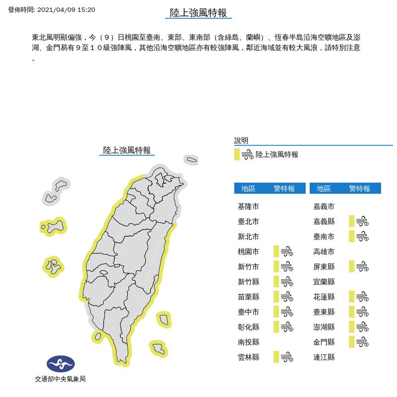 中央氣象局今日下午3點20分針對14縣市發布陸上強風特報,東北風明顯增強,民眾須格外留意。(圖擷取自中央氣象局)