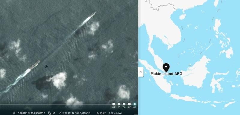 衛星影像顯示「聖地牙哥號」在前,「馬金島號」在後。(圖取自SCSPI)