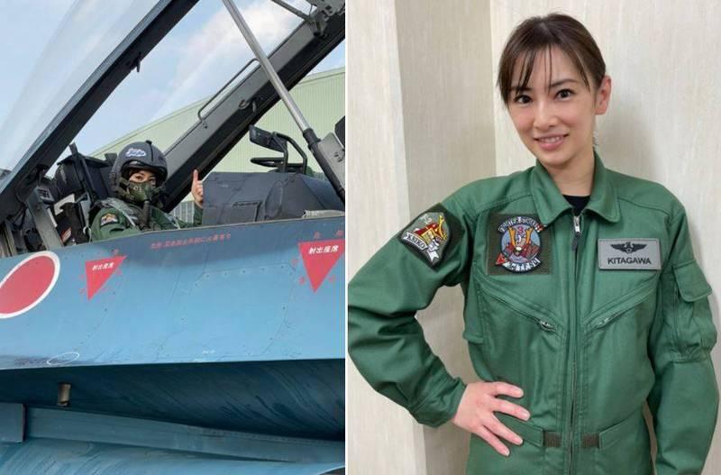 日本女星北川景子、男星永山瑛太近日也為宣傳新日劇登上F-2B戰鬥機,畫面曝光引發網友熱烈討論。(翻攝自北川景子部落格)