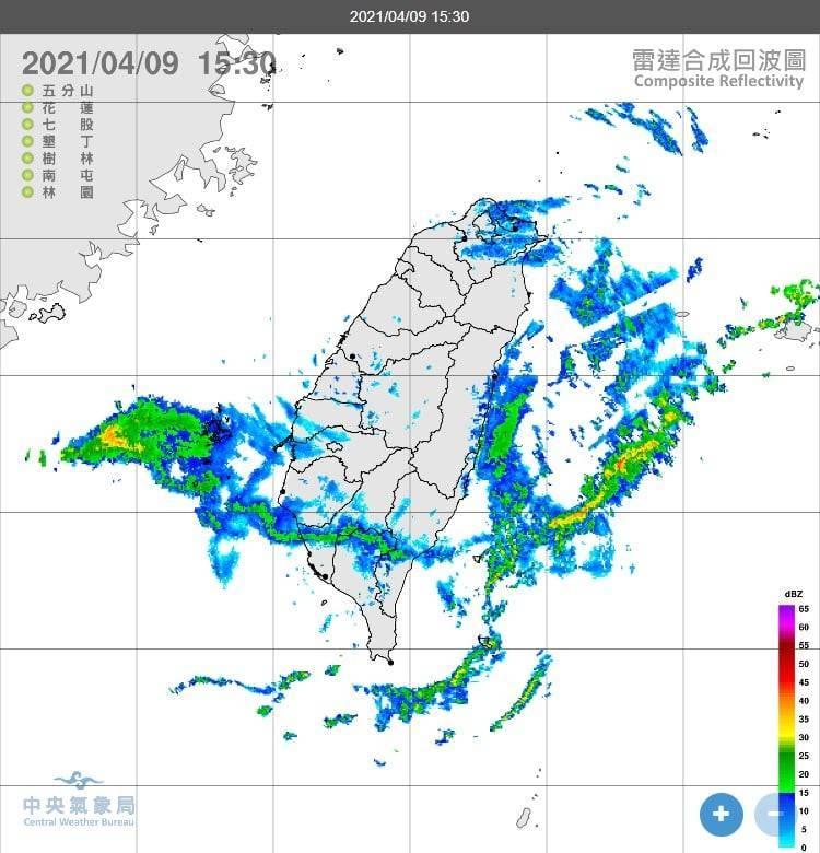 鄭明典下午在臉書PO出雷達合成回波圖表示,傳統雷達在南部持續有回波移入,但是並沒有觀測到雨量!(圖擷取自鄭明典臉書)
