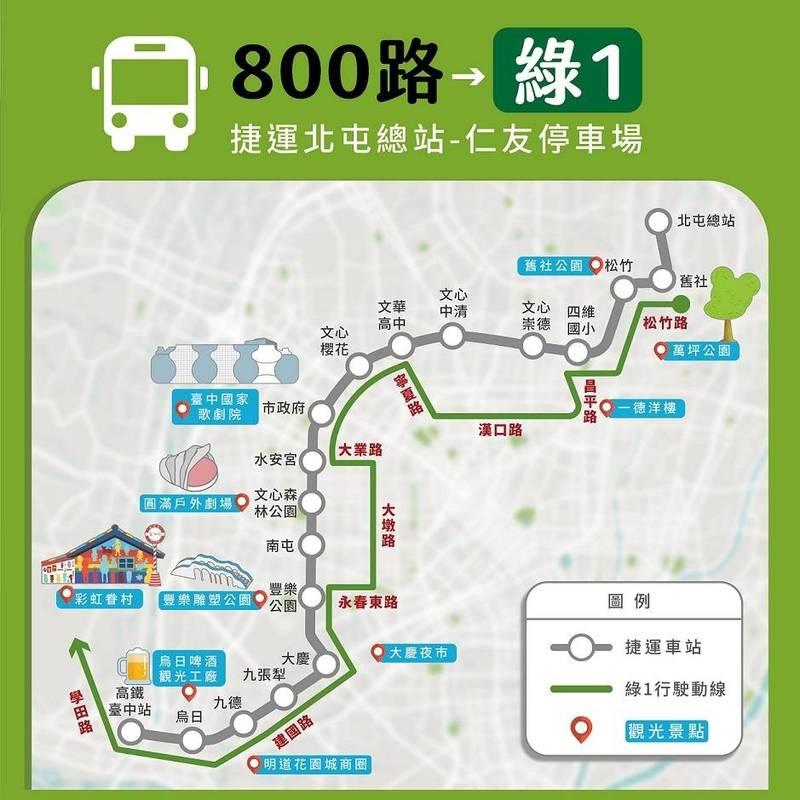 因應捷運接駁,800路調整為「綠1」。(記者蔡淑媛翻攝)