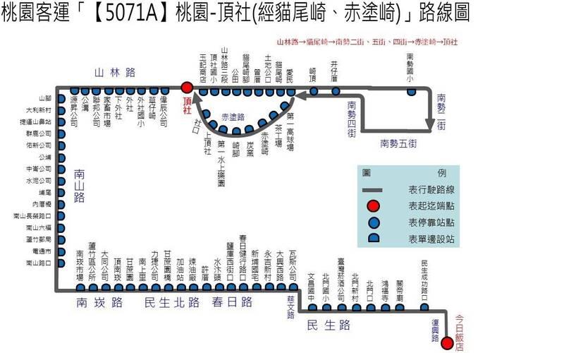 「5071A桃園-頂社(經貓尾崎、赤塗崎)」路線圖。(交通局提供)