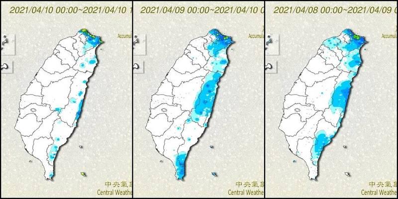氣象局公布近3日雨量觀測,中南部地區以屏東降雨量最多。(圖取自中央氣象局)