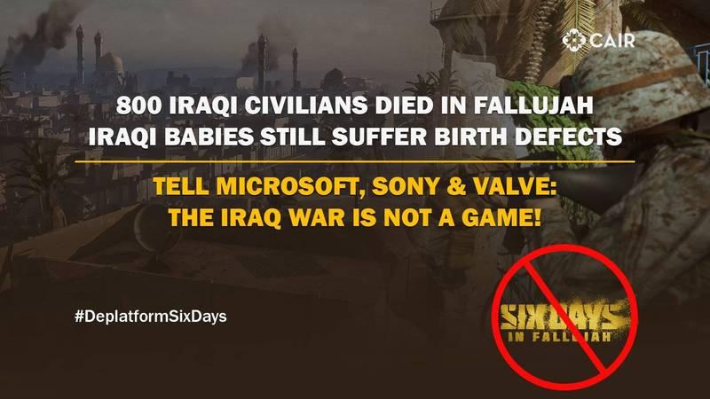 遊戲發行商Victura突然在今年初2月時宣布繼續開發《法魯賈六日》,並預計今年內上架,引發穆斯林團體反彈。(圖擷自「美國伊斯蘭關係委員會」)