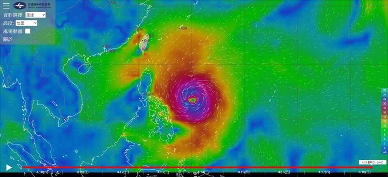 中央氣象局最新模擬圖顯示,菲律賓東方海面上低氣壓至本月18日可能發展成為颱風,有相當完整的颱風結構。(圖取自中央氣象局)