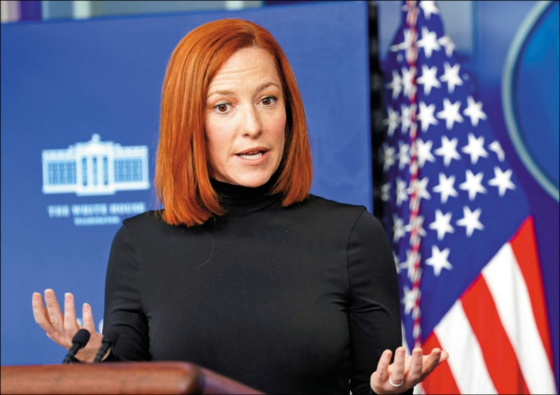 美國白宮發言人莎琪美東時間九日表示,中國在台海所進行的軍事行動令美方擔憂,並可能破壞台海穩定。(路透)