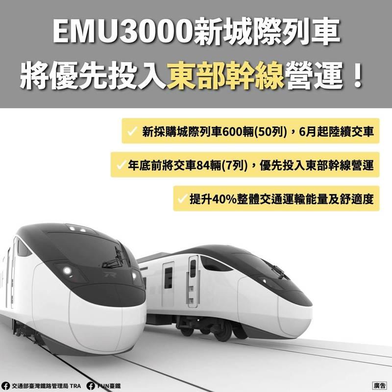 台鐵今天表示,新採購的600輛(50列)EMU3000型城際列車,將在今年6月陸續交車到位。(台鐵提供)