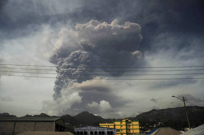 The Soufriere volcano in Saint Vincent and the Grenadines erupted on the 9th.  (Reuters)